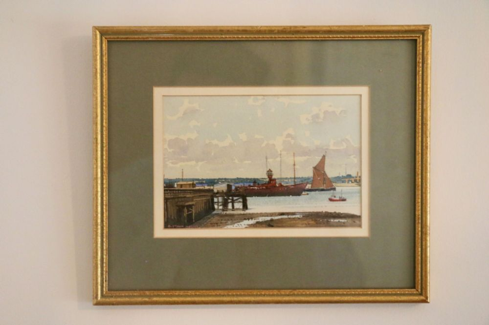 Water Colour Painting of Shotley Pier, Suffolk, England by G.St. John Hollis